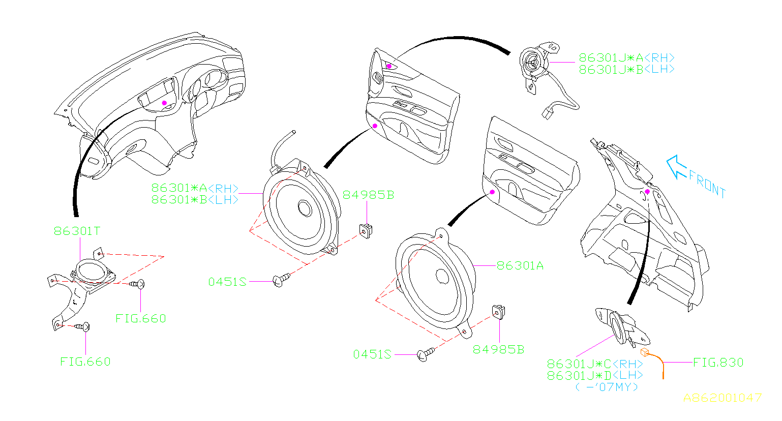 AUDIO PARTS (SPEAKER). SPEAKER.
