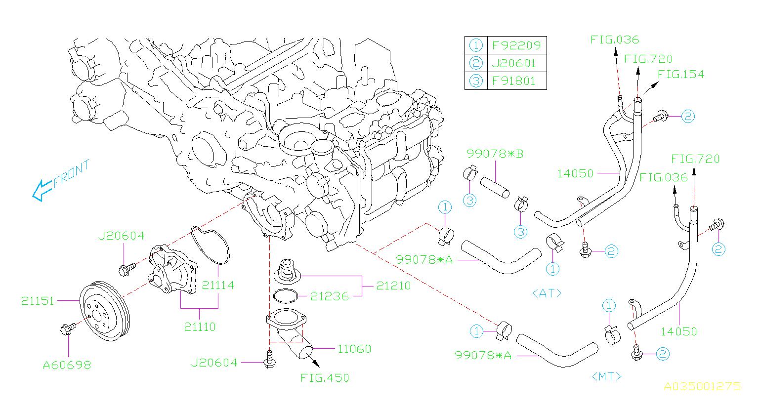 2015 Subaru Brz Engine Coolant Thermostat  Water  Pump - 21210aa181