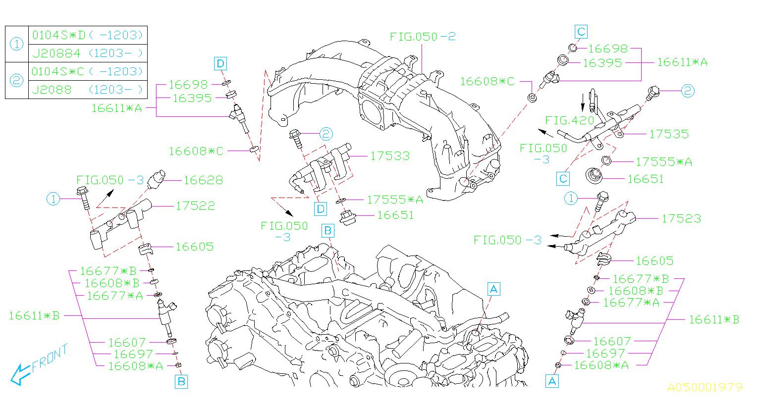 16608JB010 - Fuel Injector Seal. MANIFOLD, INTAKE, Engine ...