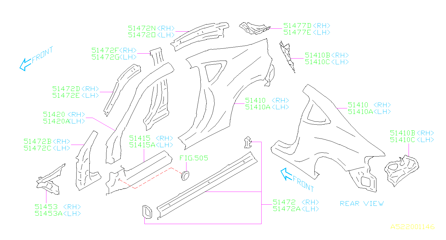 Diagram SIDE PANEL. OUTER PANEL. for your Subaru