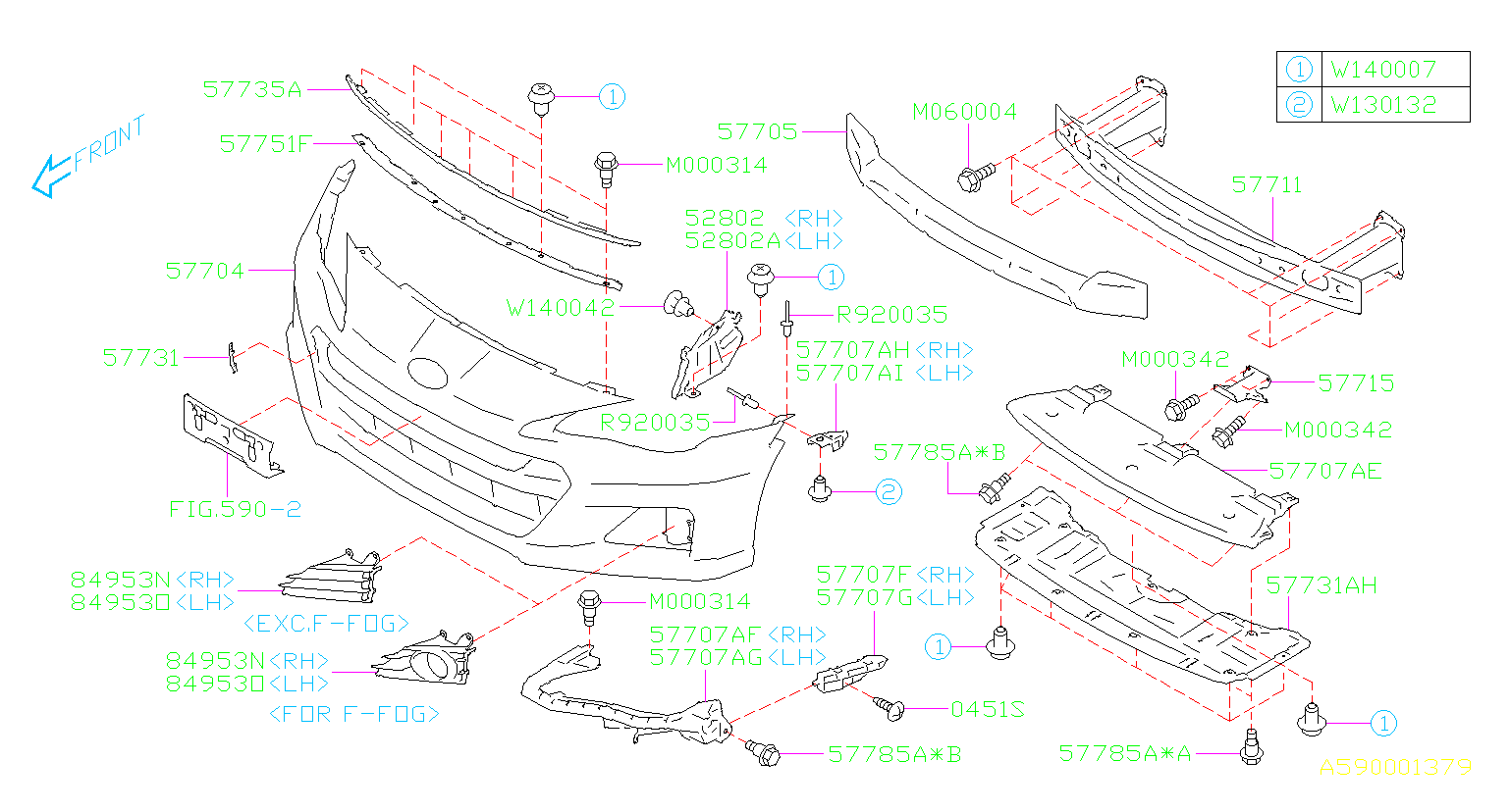 Diagram FRONT BUMPER. FRONT BUMPER '13MY-'16MY. for your Subaru