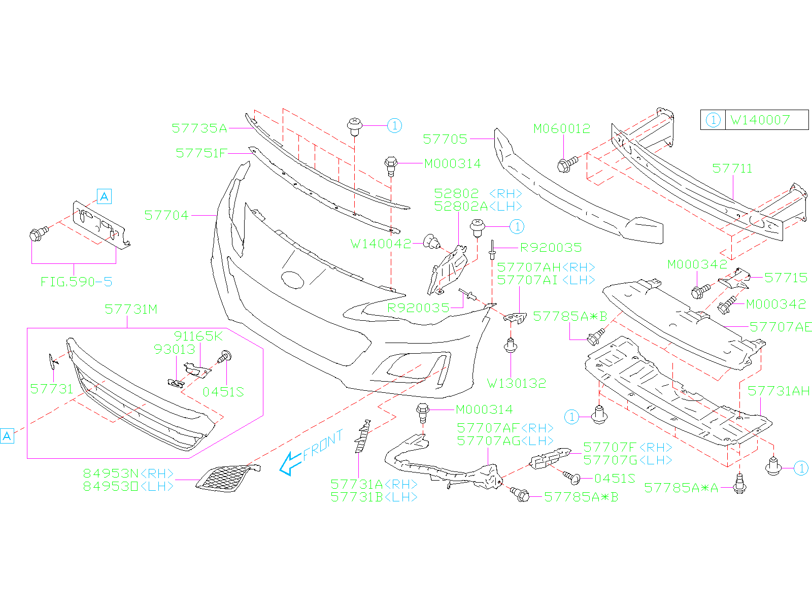 Diagram FRONT BUMPER. FRONT BUMPER '18MY-'18MY. for your Subaru