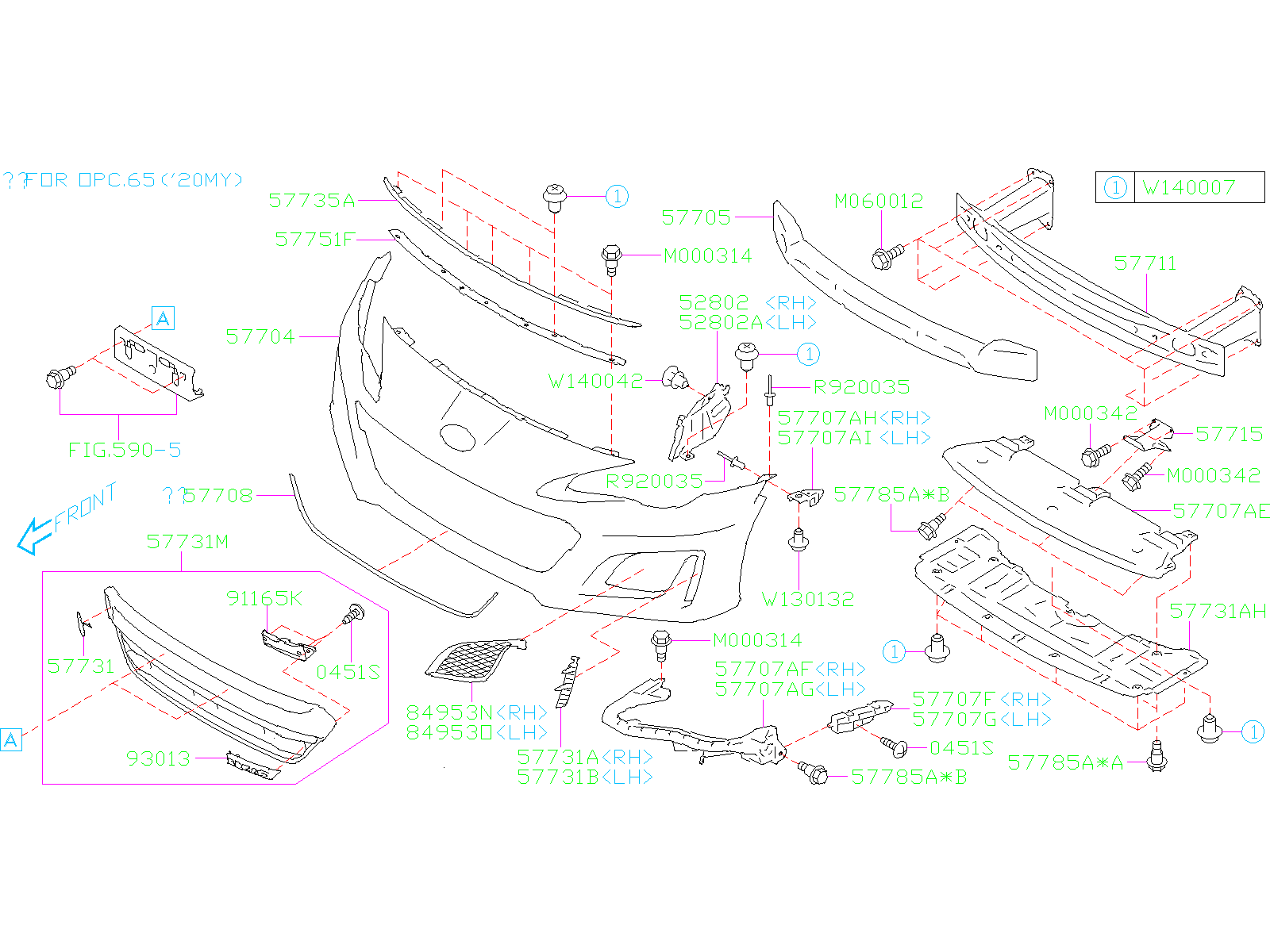 Diagram FRONT BUMPER. FRONT BUMPER '19MY-. for your Subaru