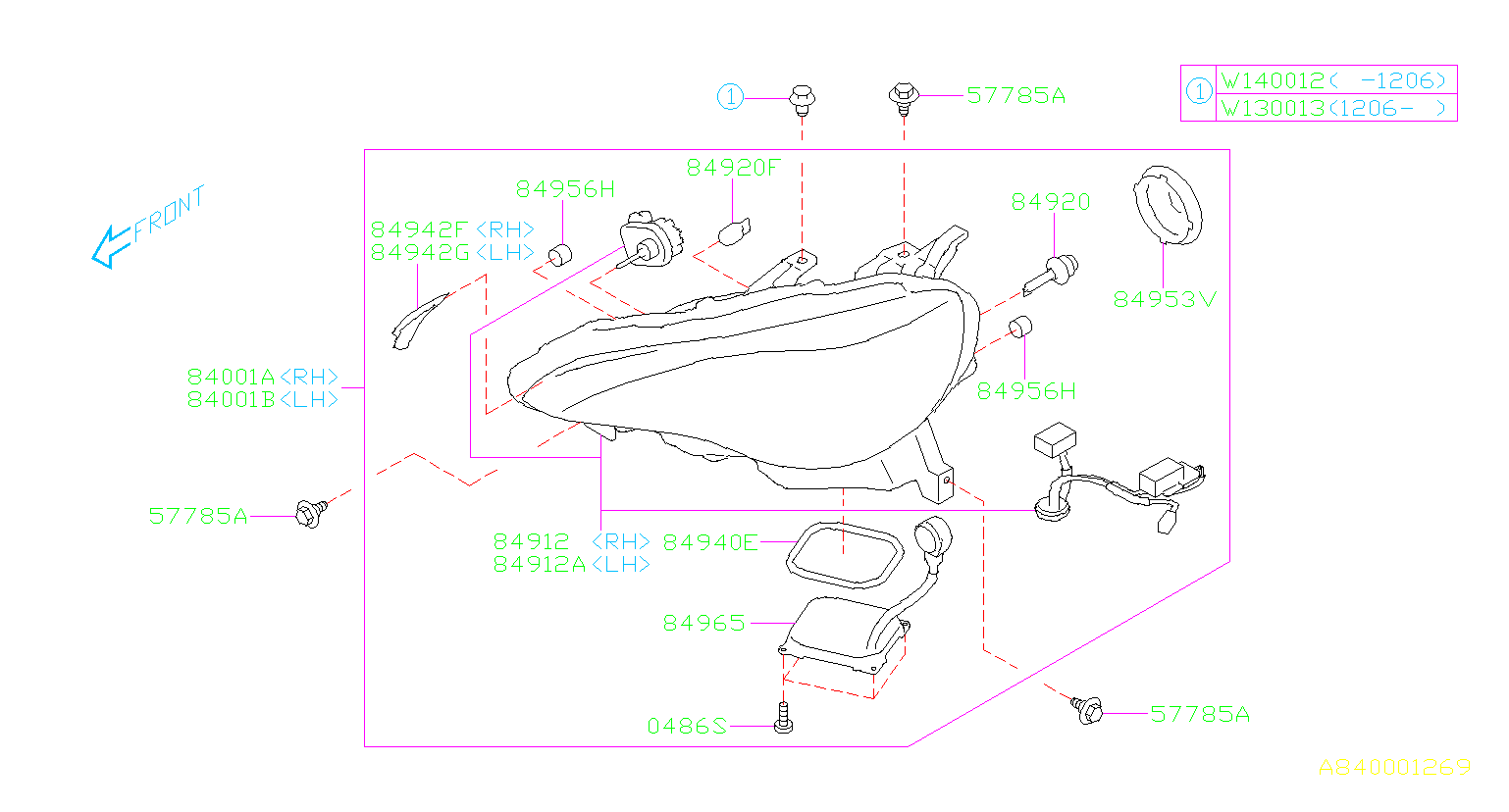 Diagram HEAD LAMP. HID TYPE '13MY-'16MY. for your Subaru